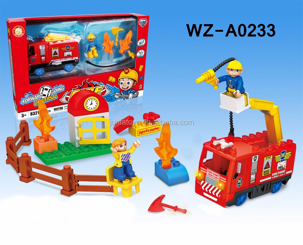 funny plastic fire fighting truck toy blocks for kids