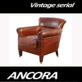 vintage retro leather sofa with wheel/antique house used sofa k671
