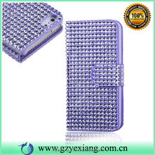 Luxury Bling Diamond Leather Flip Cover For iPhone 4 Case