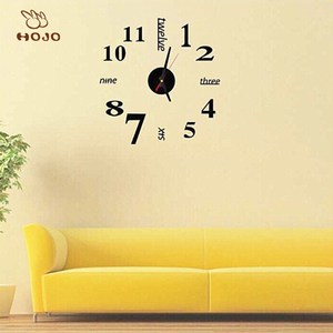 Digital Modern DIY Large Wall Clock 3D Mirror Surface Sticker Home Office Decor