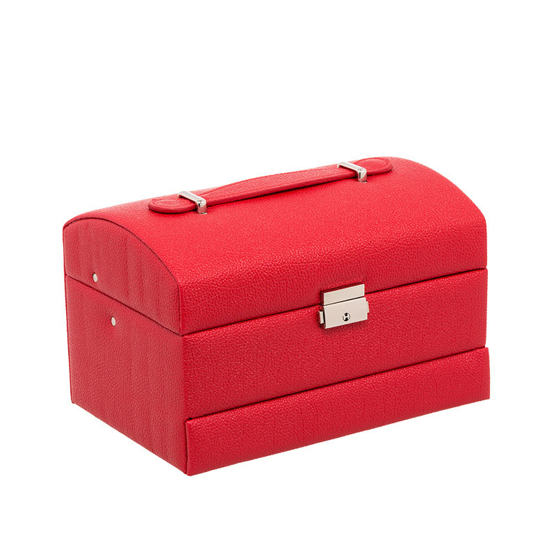 Jewelry Box Three Layers Standing Jewellery Oganiser PU Leather Jewelry Storage Box with Mirror and Lock for Girls