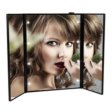 3 Folding LED Lighted Makeup Mirror Cosmetic Portable Touch Screen Adjustable Tabletop Compact Makeup Mirror