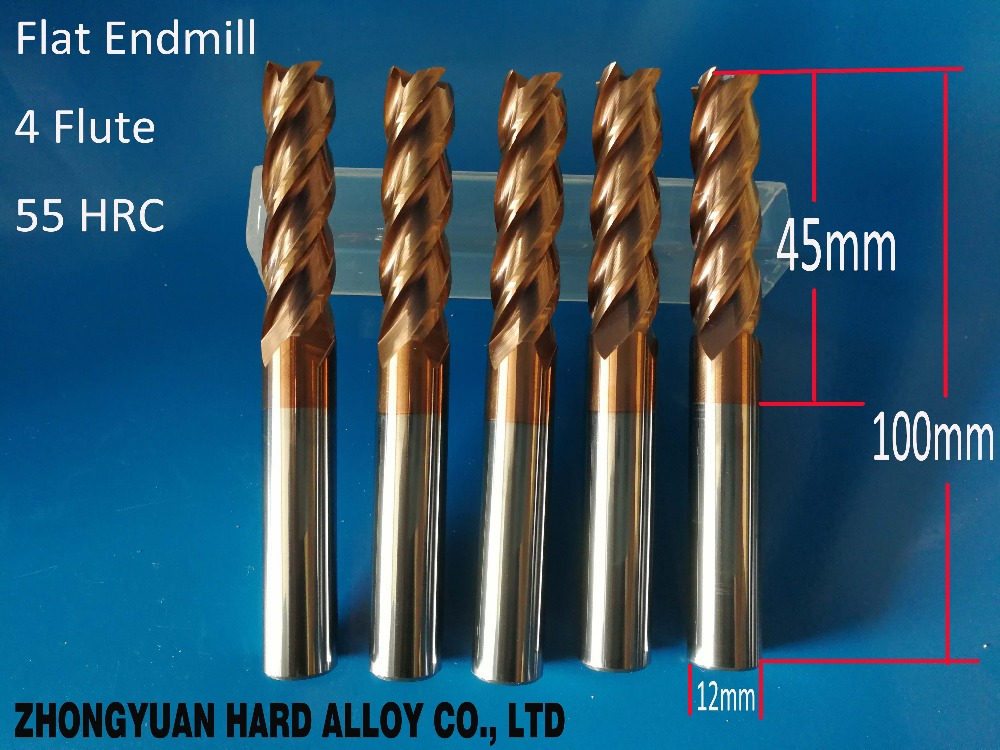 wenzhou manufacturer HRC55 tungsten carbide end mills end mill cutters for wholesale