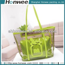 pretty lady convenient pvc green paper gift bag with ribbon handle