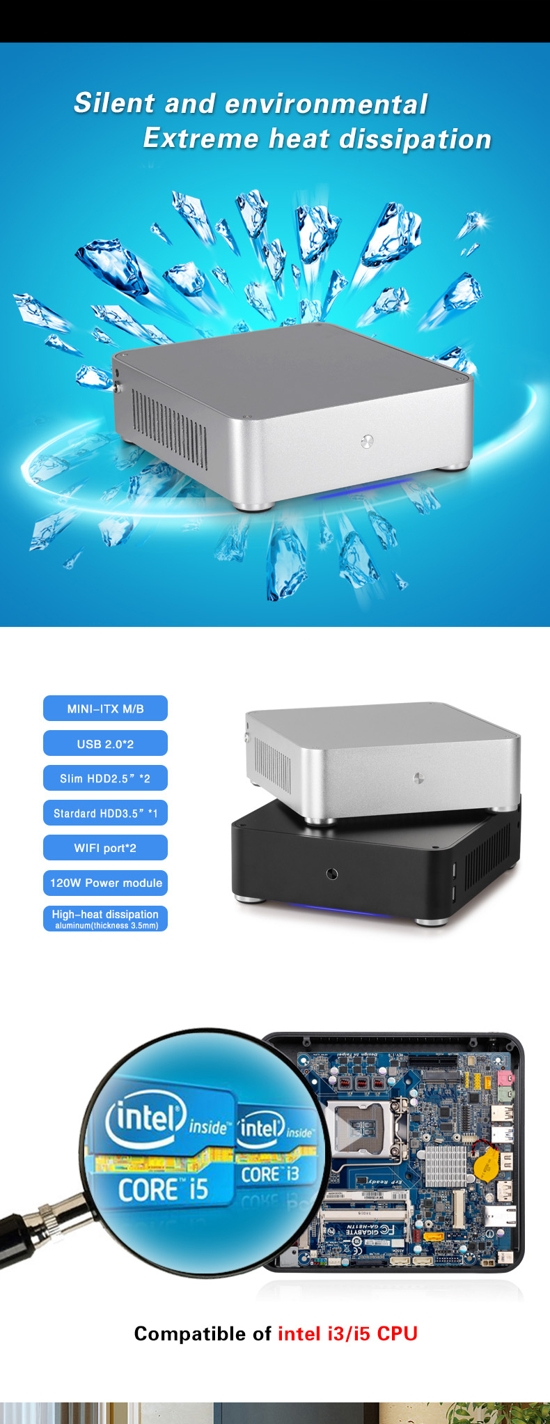 2015 new arrival Aluminium Mini ITX Computer Case from guangdong