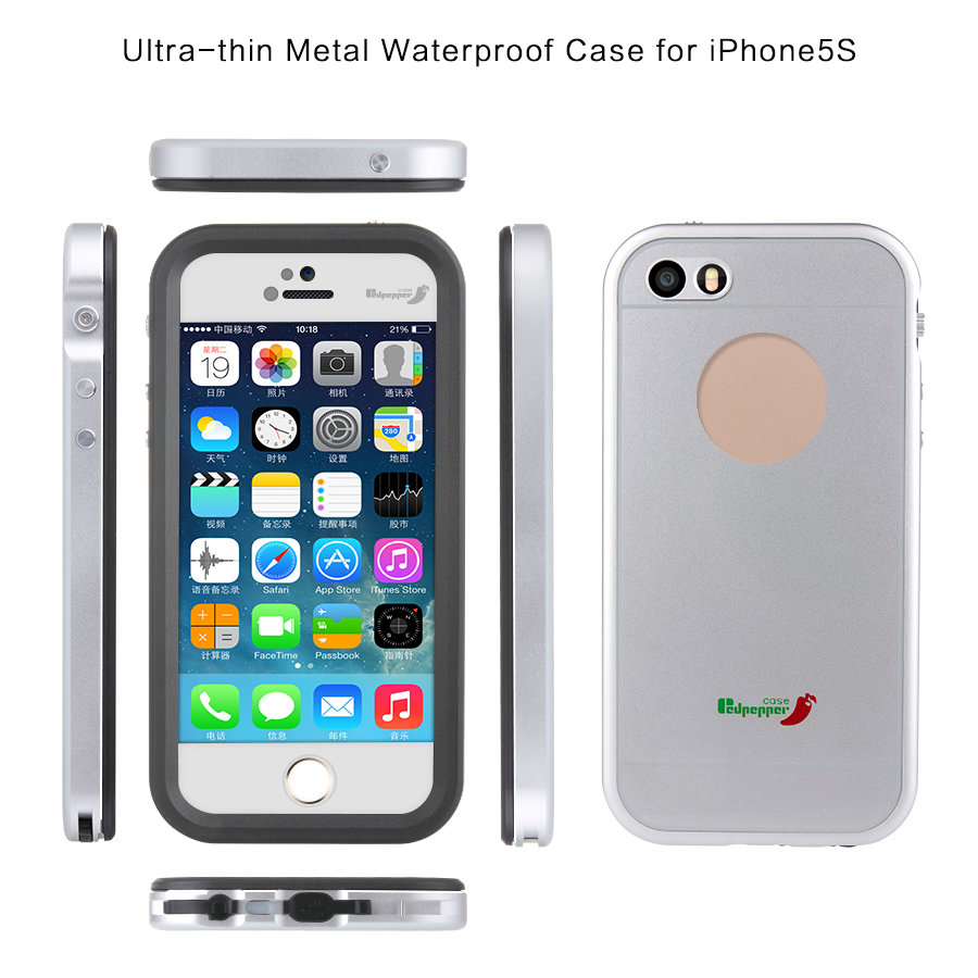 Metal Rugged Bumper Waterproof Case for iPhone5, Aluminum Waterproof Case for iPhone 5S