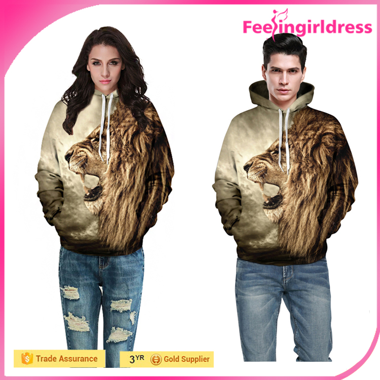 Cheap In Stock 3D Lion Printing Plain 100% Polyester Hoodies