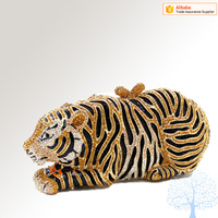 Wholesale high quality Tiger crystal animal shape clutch evening bags