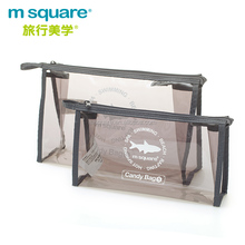 small msquare soft waterproof clear plastic pvc makeup bag with logo printed