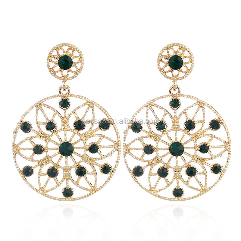 The New Fashion Circular Colourful Diamond Earring Womens For present Wholesale NS800591
