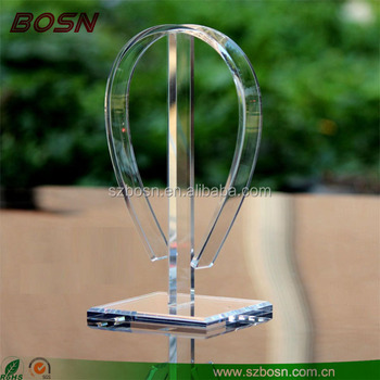 Elegant crystal acrylic headphone stand display rack Perspex earphone music holder