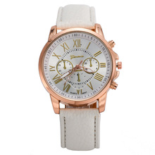 Wholesale Geneva Women's Watches Quartz relogio feminino Leather Band Analog Roman Numerals Faux Watch Dress watch Beige