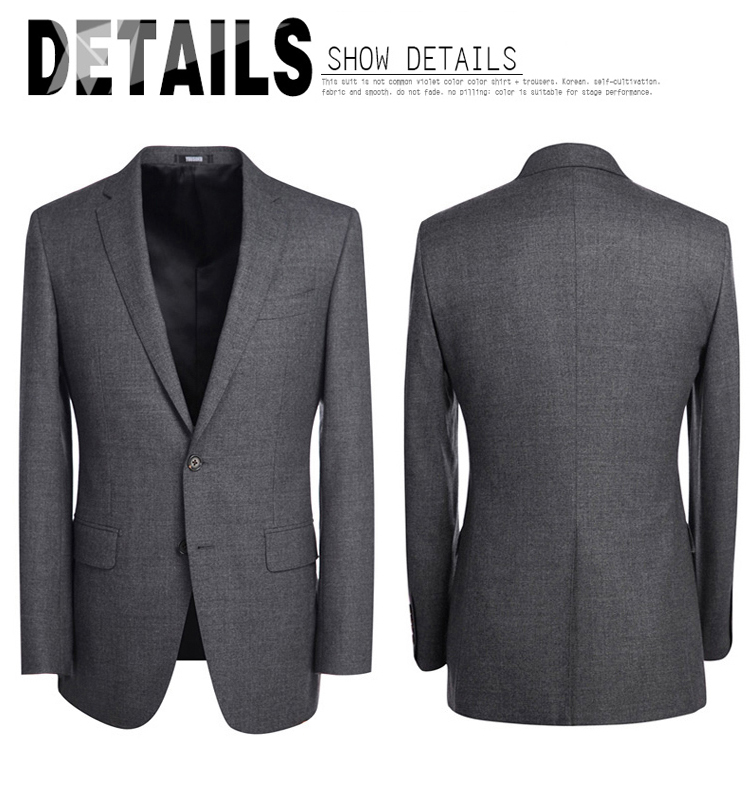 2017 hot sale european style men's slim fit business suit 2 piece suit with dark grey wool fabric