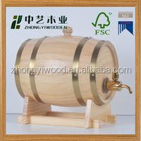 Wholesales in china factory FSC 2L OAK wooden wine whiskey barrel