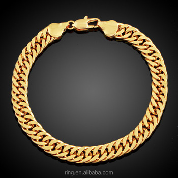 Fashion New Gold Link Chain Bracelet Men Heavy Wide Friendship