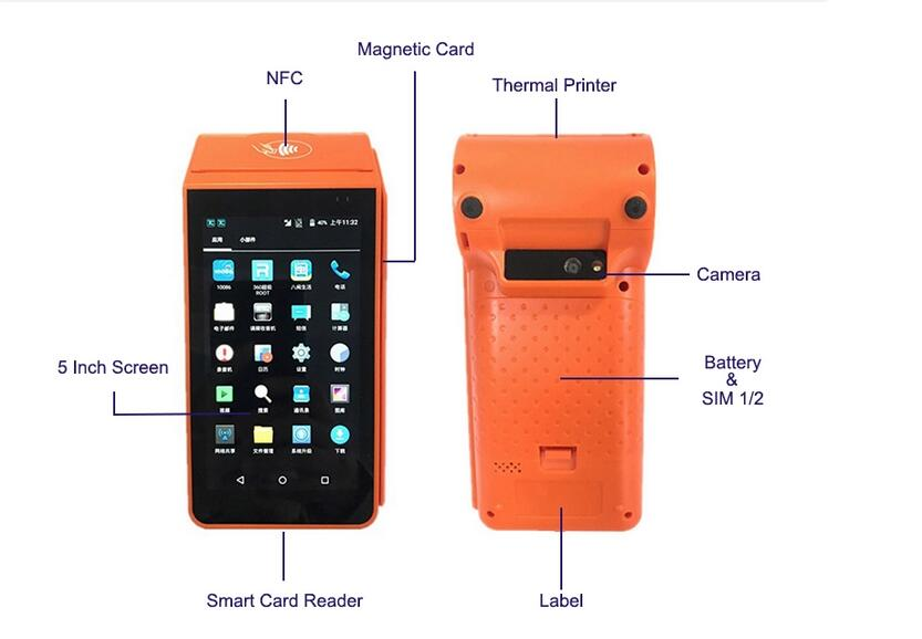 Wifi Portable Card Swipe Machine Android POS with Receipt Printer