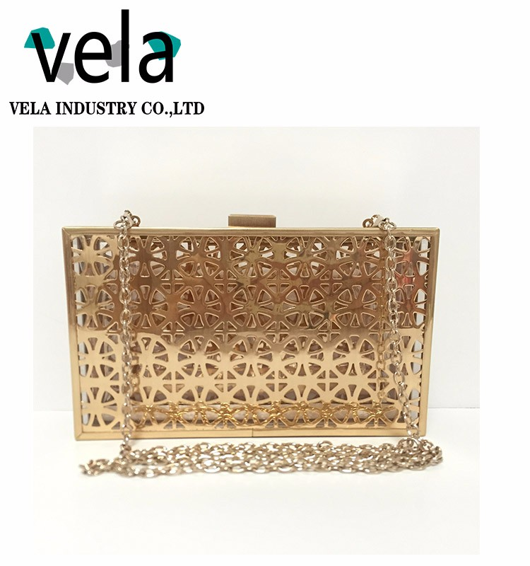 Top Selling Fashion Ladies Metal Farme Hard Case Box Clutch Evening Bag