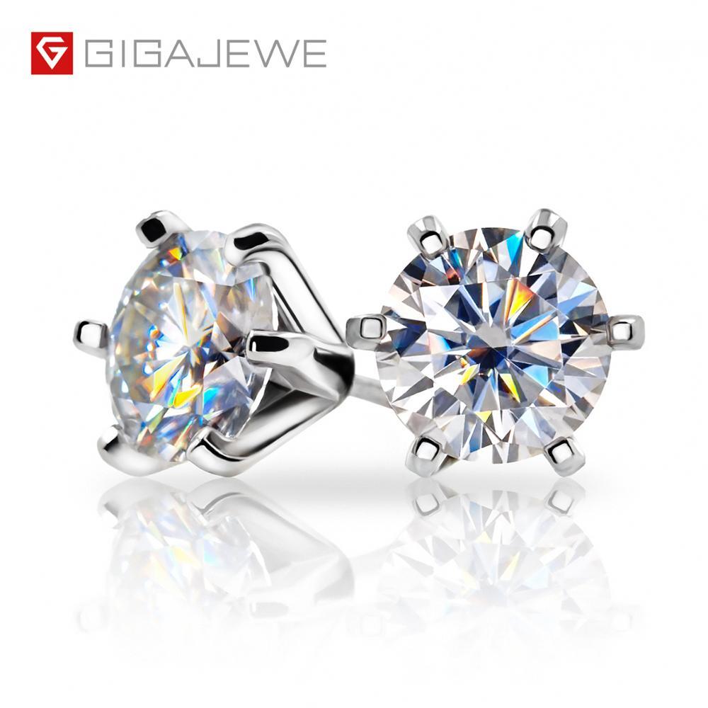 GIGAJEWE Silver Plated 18K Earrings Round <strong>Cut</strong> Silver Screw 2.0ct Carats DEF White Color Moissanite Earrings VVS1 Excellent <strong>Cut</strong>