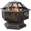 Outdoor Bronze Hex Shape Outdoor Fire Pit Table With Lattice Design