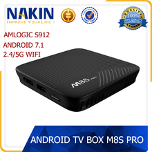 New android 7.1 tv box M8s With KDPlayer 17.3 dual wifi 4K Amlogic S912 smart TV BOX M8S pro