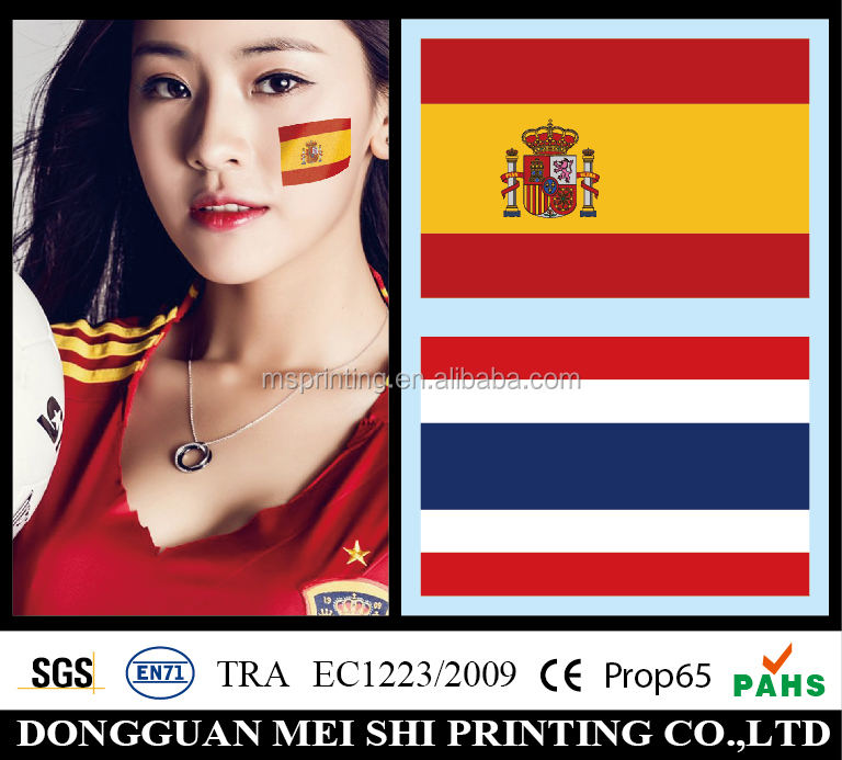 2016 Newest temporary national flag face tattoo sticker