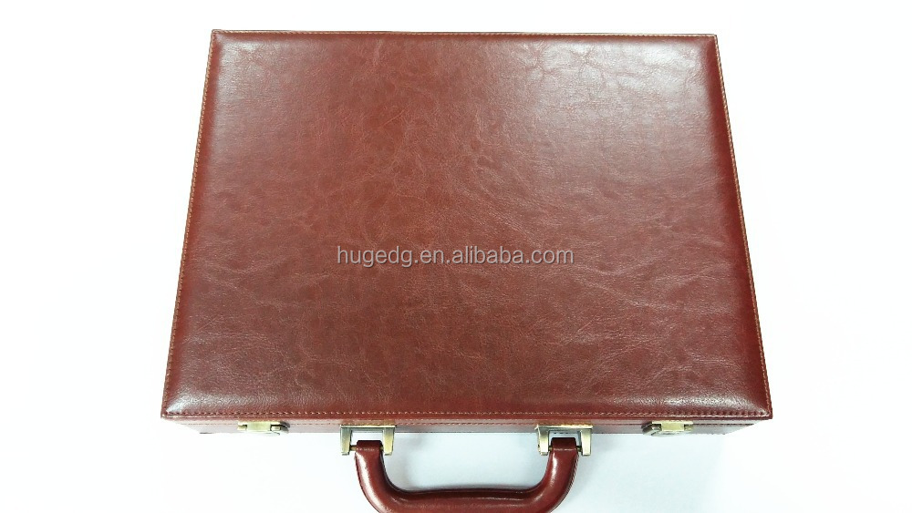 Hot selling practical faux leather attache case with handle