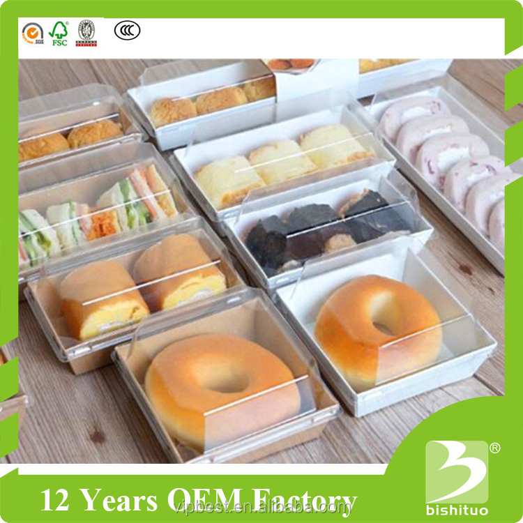 Custom Sandwich Paper Box Cake Plastic Box with Clear Plastic
