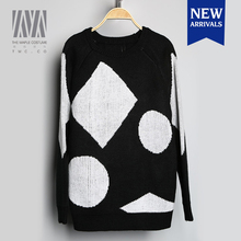 Round neck loose geometric figure long section woolen sweater new designs for ladies