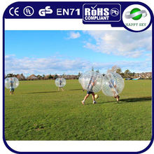 2015 funny game PVC or TPU popular sale inflatable ball costume, sport games soccer, soccer zorb ball