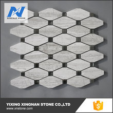 The long Octagon wooden white marble mosaic with glass dots for wall decoration