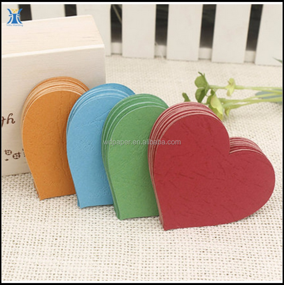China Suppliers Wholesales Custom Mini Colored Love Heart Shape Writing Paper Birthday Cards Valentine's Day
