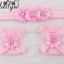 Baby Girl Kids Crystal Hair Accessories Set Headband with Foot Flower