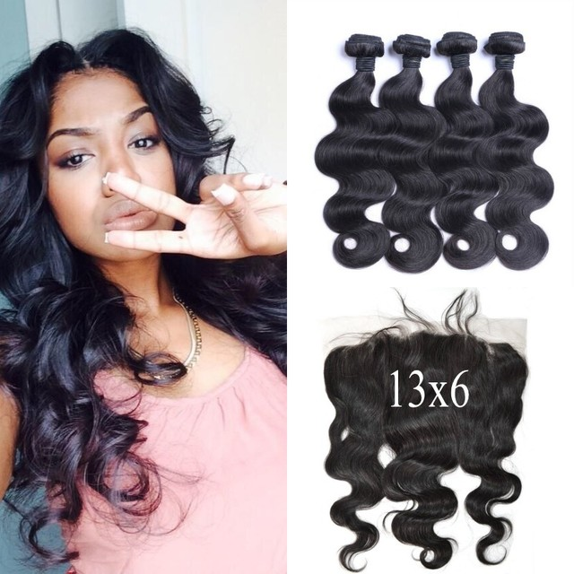 4 Bundles With 13X6 Ear To Ear Lace Frontal Closure Bleached Knots Virgin Peruvian Body Wave Hair Weaves