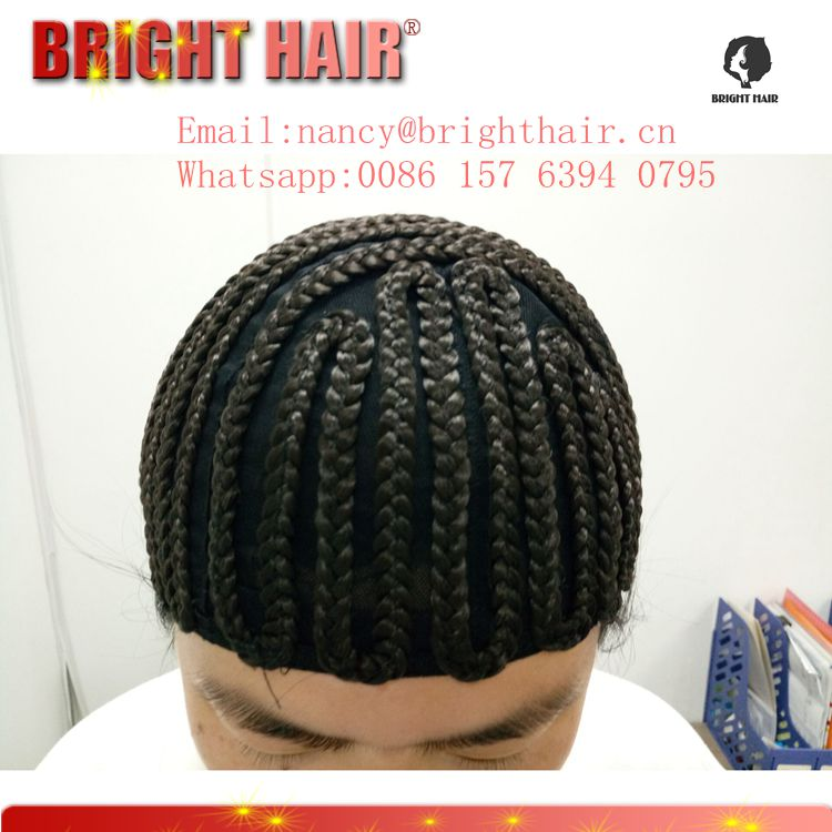 Synthetic cap Cornrow wig for braid black color factory price