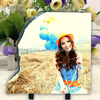 Oval shape, Personalized sublimation rock photo slate with footstand,oval shape, round shape