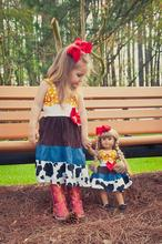 Babi splicing floral wholesale baby and doll dress