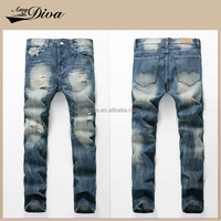 2016 New style man washed scratch ripped jeans pants pent hot sale fashion cotton denim jeans trousers