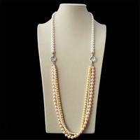 2015 hotselling latest long chain necklace,coat chain shell pearl necklace