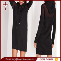 Lady clothing hooded mesh insert jumper dress women black