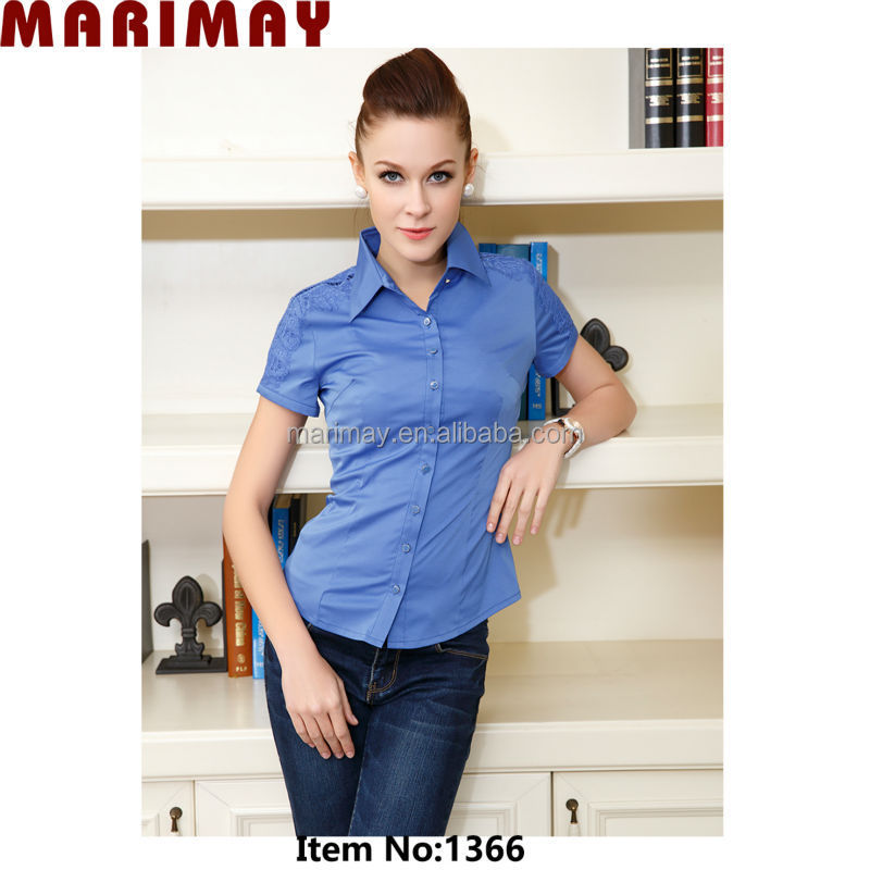 Fashion ladies formal blouse for woman wear with elegant lace,wholesale clothing