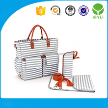 Hot sale Fashion High Quality Eco Friendly Factory supply travel striped mommy diaper changing mat bag for baby