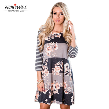 Latest fashion long sleeve A-line boho style floral print tunic dress