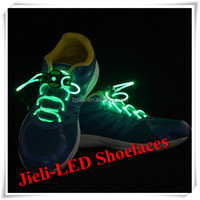 Jieli luminous shoe laces led shinning shoelace with battery
