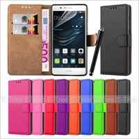 Bottom Price Custom Card Slot Flip Magnetic Wallet PC Leather Back Cover Case for Huawei P9 Lite