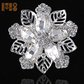 Vintage China custom silver gold bridal rhinestone crystal pearl flower magnetic brooch pin for dress