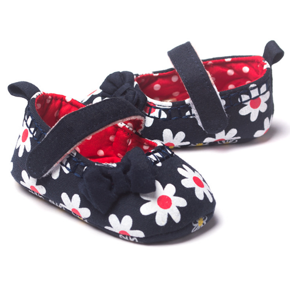 Lovely Flowers Printed Butterfly-Knot Hoop & Loop baby Princess Shoes