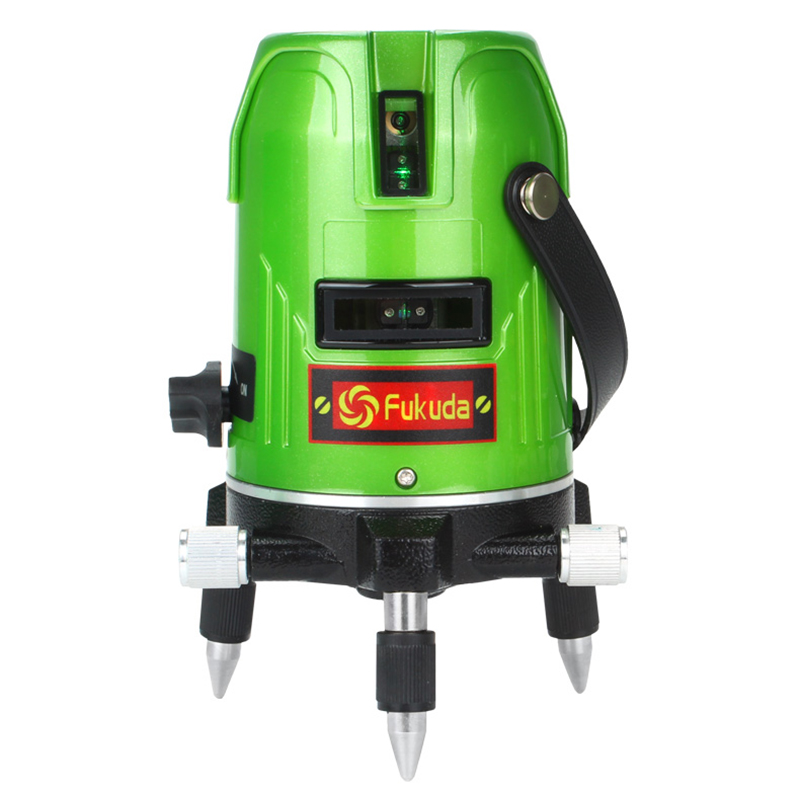 New Fukuda Green Laser Level 5 Line 1 Point 360 Rotary Lazer Line Ek-469GJ lithium-ion battery Cross line Level
