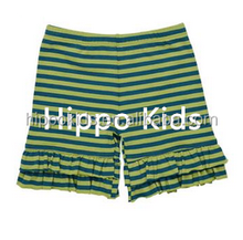 2016 summer girls double ruffled pant green striped shorts boutique baby icing ruffle pants