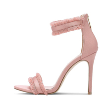 high quality pointed pink butterfly knot cute high heel women's shoes summer footwear