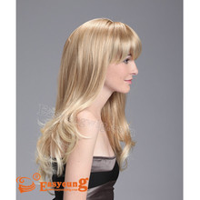 Wholesale price extra long blonde curly synthetic hair style full lace wig